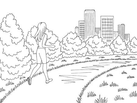 Park graphic black white landscape sketch illustration vector. Girl running