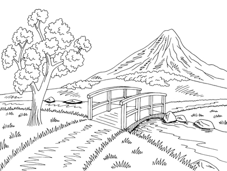 Mountain river bridge graphic black white landscape sketch illustration vector Ilustração