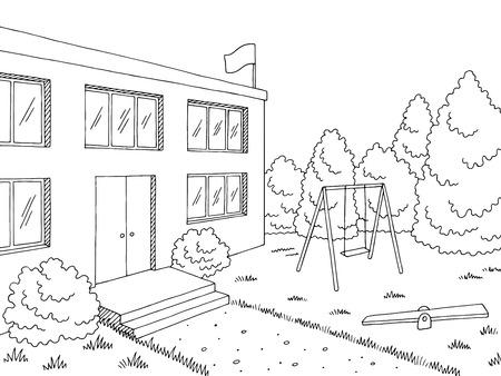 Preschool building exterior graphic black white sketch illustration vector Vetores