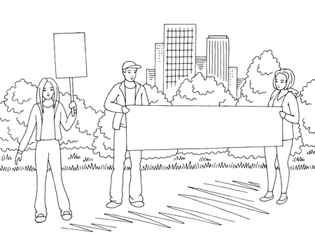 Demonstration graphic black white city street road landscape sketch illustration vector. People are standing