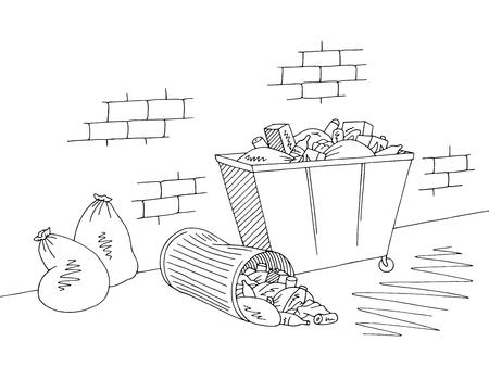 Street trash can graphic black white sketch illustration vector