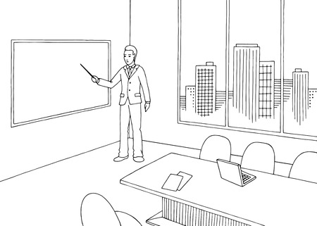 Office meeting room interior black white graphic sketch illustration vector. Man standing