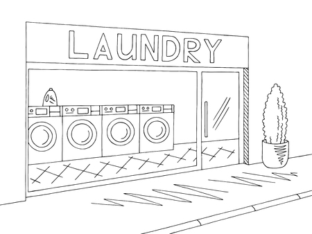 Laundry exterior graphic black white sketch illustration vector