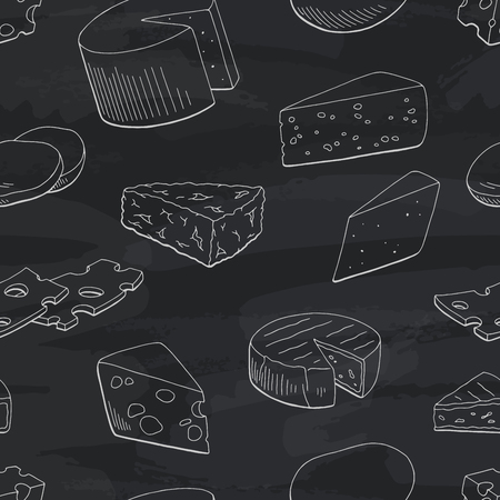 Cheese graphic blackboard black white seamless pattern sketch background illustration vector Illustration
