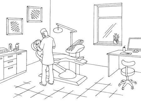 Dentist office in black and white sketch. Vector illustration Vektorové ilustrace