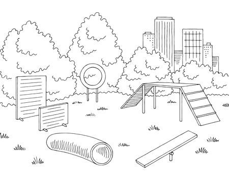 Grafica di parco giochi per bambini in schizzo in bianco e nero. Illustrazione vettoriale