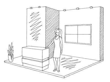 Exhibition stand graphic interior black white sketch illustration vector. Woman standing
