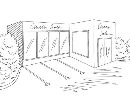 Grocery store shop exterior graphic black white sketch illustration vector Vetores