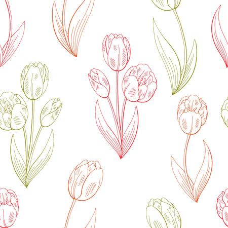 Tulip flower graphic color sketch seamless pattern background illustration vector Vektorové ilustrace