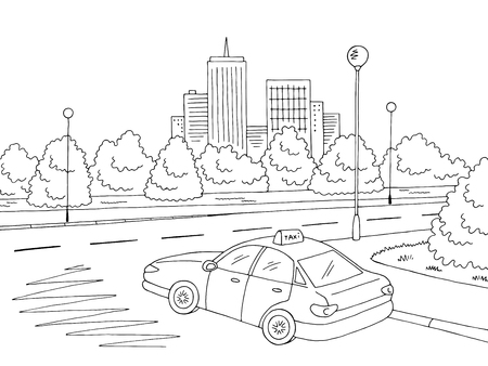 Street road graphic black and white city landscape sketch illustration vector. Taxi car