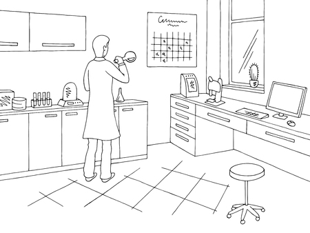Laboratory graphic black white interior sketch illustration vector. Scientist mixing potions 일러스트