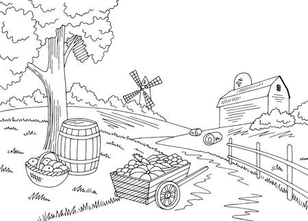 Farm autumn graphic Иллюстрация