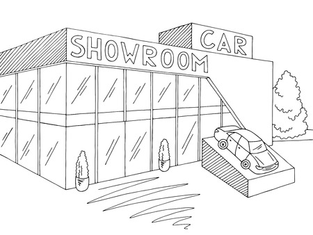 Car showroom graphic exterior black white store sketch illustration vector Ilustracje wektorowe
