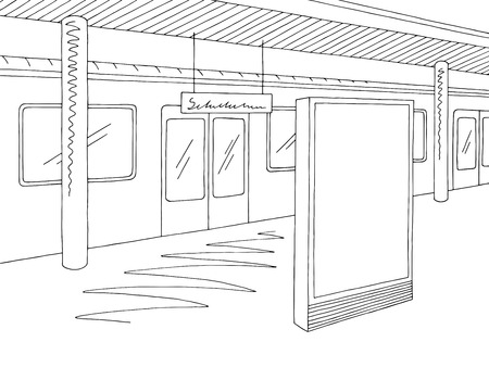 Railway station platform blackboard sketch illustration vector  イラスト・ベクター素材