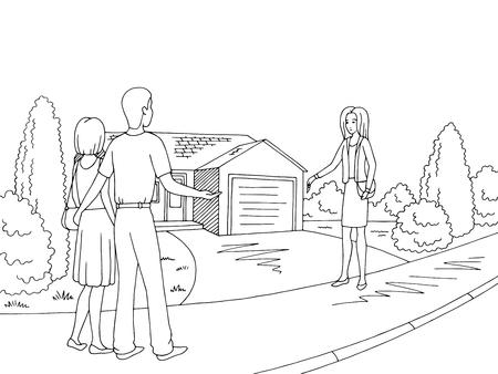 House exterior graphic black white sketch illustration vector. Vetores