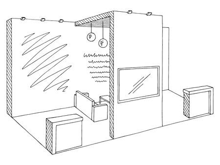 Exhibition stand graphic interior black white sketch