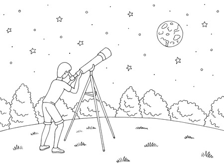 A boy is looking at the stars through a telescope.
