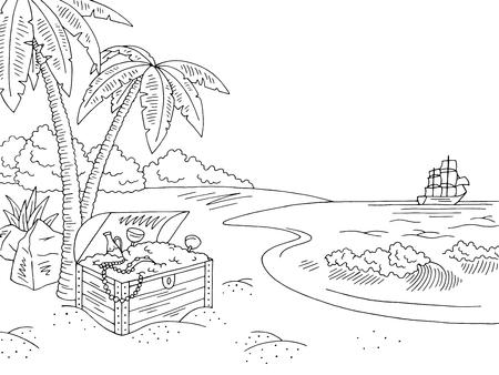Sea coast, isolated on a white background. Illustration