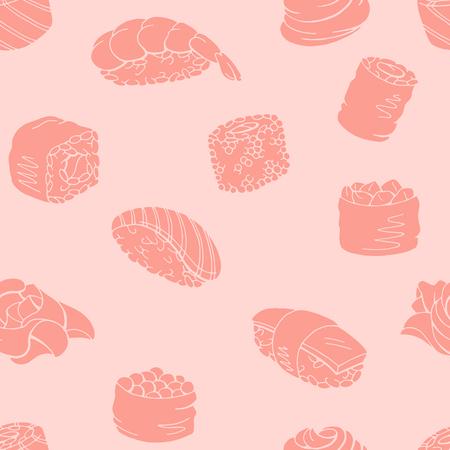 Sushi food graphic pink color seamless pattern background sketch illustration vector Illustration