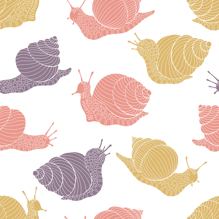 Snail escargot graphic color seamless pattern background sketch illustration vector