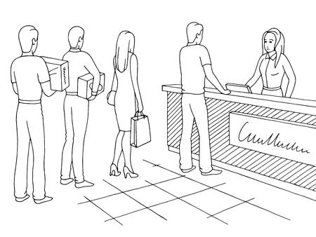Negozio grafico nero bianco schizzo illustrazione vettoriale. Persone in attesa in coda