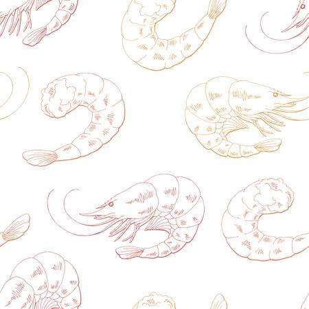 Shrimp graphic food pink color seamless pattern background sketch illustration vector