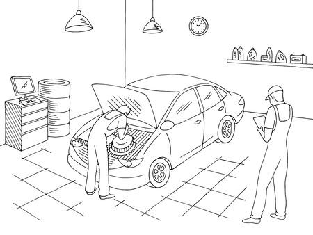 Auto service interieur grafisch zwart witte schets illustratie vector. Werknemers repareren een voertuig Vector Illustratie