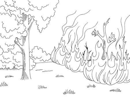 Illustrazione vettoriale di schizzo di paesaggio incendio forestale bianco nero grafico Wildfirefire