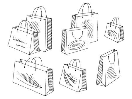 Vector de ilustración de dibujo aislado blanco y negro gráfico conjunto de bolsa de compras