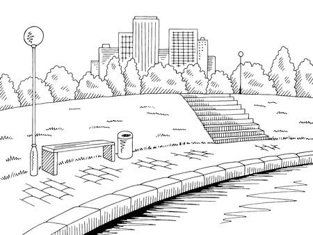 Park river graphic black white landscape sketch illustration vector Illustration
