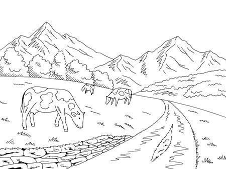 Cows feeding grass in the meadow in the mountains graphic black white sketch illustration vector