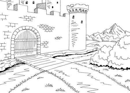 Château porte graphique noir blanc paysage esquisse illustration vectorielle Vecteurs