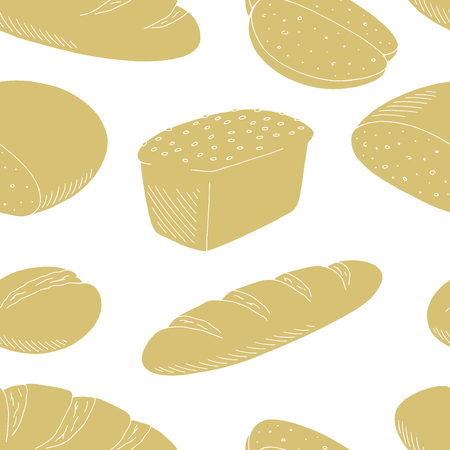 Bread graphic color seamless pattern background sketch illustration vector Stock Illustratie