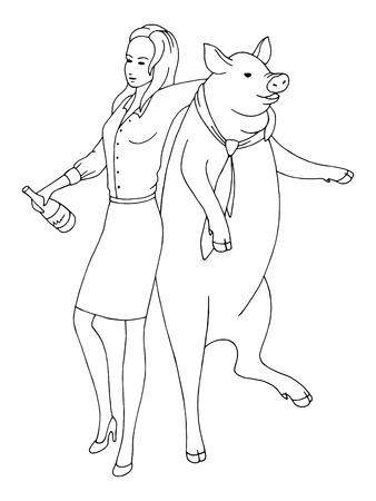 Black white sketch illustration