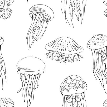 Jellyfish graphic black white seamless pattern background sketch vector
