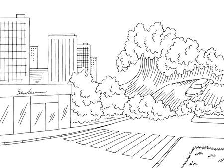 Paysage blanc noir graphique d'inondation de tsunami