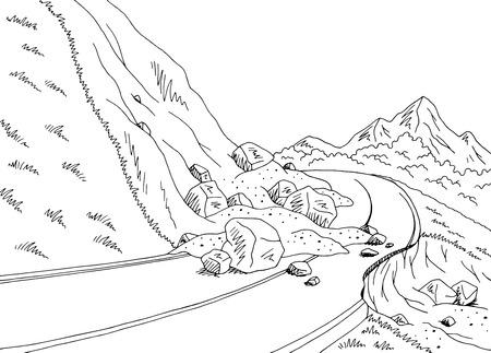 Landslide graphic black white mountains landscape illustration 矢量图像