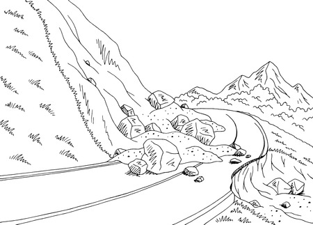 Landslide graphic black white mountains landscape illustration Ilustracja