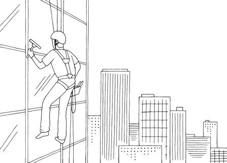 Industrial climber washing windows skyscraper graphic black white cityscape sketch illustration vector