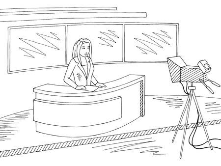 Reporter telling news. Television studio graphic black white sketch illustration vector Stock Vector - 111234289