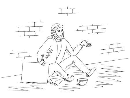 Beggar is holding a black white sketch illustration