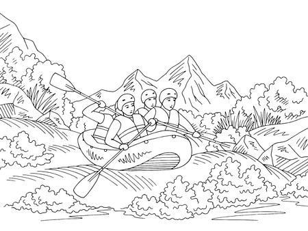Rafting boat travel graphic black white landscape sketch illustration vector