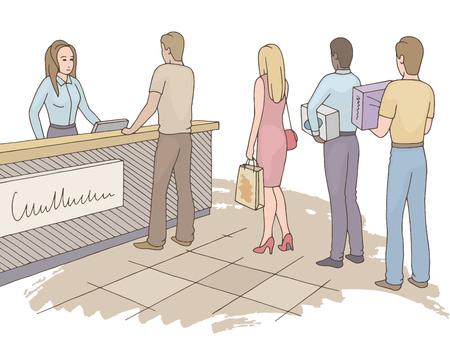 People waiting in line queue. Shop graphic color sketch illustration vector.