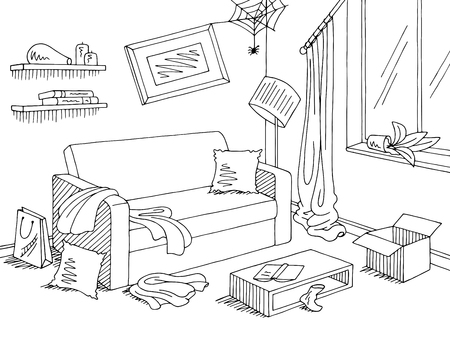 Durcheinander im Wohnzimmer Grafik schwarz weißer Inneneinrichtungsskizze Illustrationsvektor Vektorgrafik