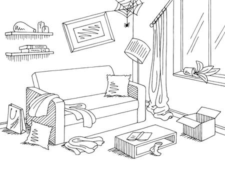 Mess dans le salon graphique noir blanc maison intérieur croquis illustration vecteur Vecteurs