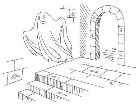 Ghost flying in black