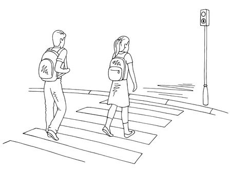 Children walking at the crosswalk graphic black white street sketch illustration vector