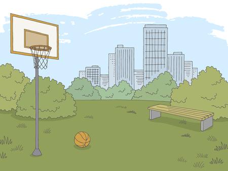 Sport de rue basket-ball graphique couleur ville paysage croquis illustration vecteur