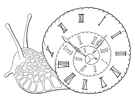 Snail clock graphic black white isolated sketch illustration vector