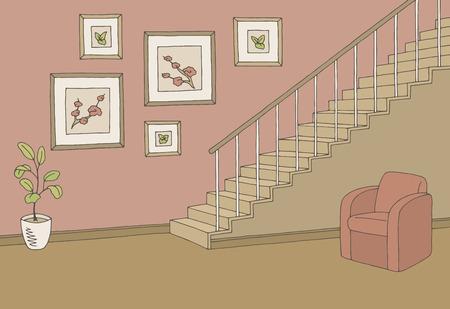 Hallway stairs color interior sketch illustration vector